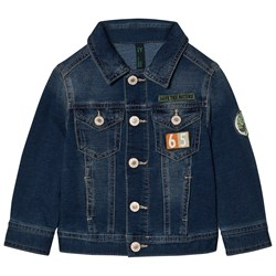United Colors of Benetton Denim Jacket With Patches Blue