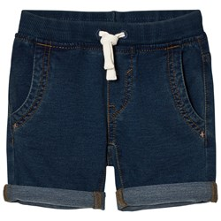 United Colors of Benetton Denim Look Chino Shorts With Tie Waist Blue