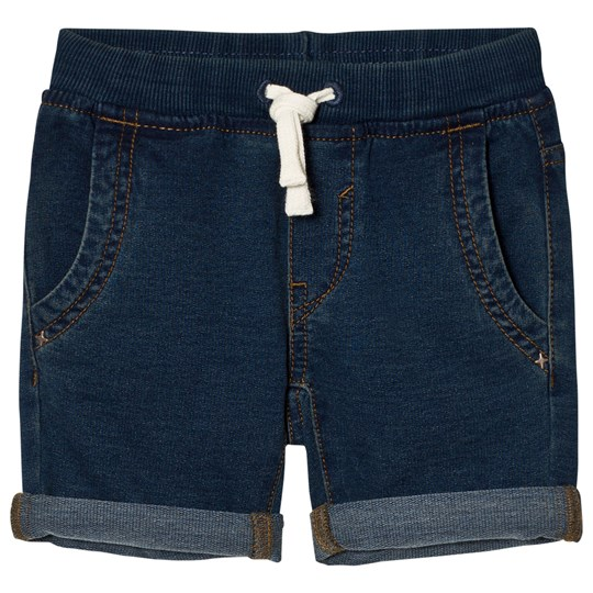 United Colors of Benetton Denim Look Chino Shorts With Tie Waist Blue Blue