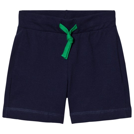 United Colors of Benetton Jersey Shorts With Logo Back Pocket Tie Waist Navy Navy