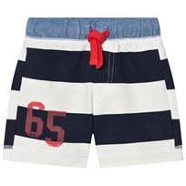 United Colors of Benetton Bold Stripe Jersey Shorts With Tie Waist Navy White Navy White