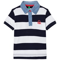 United Colors of Benetton Navy and White Bold Stripe Polo Shirt Navy White
