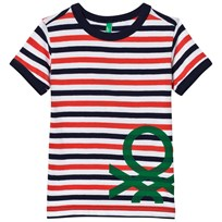 United Colors of Benetton Stripe Printed T-Shirt Navy Red Navy Red