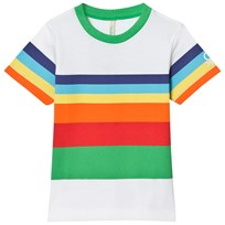United Colors of Benetton Multi Color Stripe Logo T-Shirt White White Multi