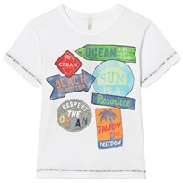 United Colors of Benetton Beach Inspired T-shirt with Patches White
