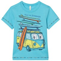 United Colors of Benetton Mini Van Surf Print T-shirt Blå Bright Blue