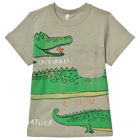 United Colors of Benetton Crocodile Print T-Shirt with Pocket Khaki Khaki