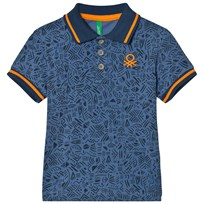United Colors of Benetton Aztec Print Logo Polo T-Shirt Blue Blue