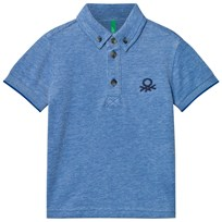 United Colors of Benetton Blue Denim Look Polo T-shirt Blue
