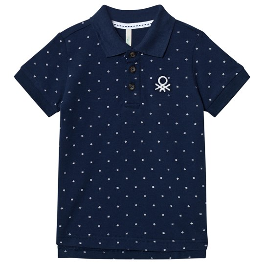 United Colors of Benetton Micro Print Pique Polo T-Shirt Navy Navy
