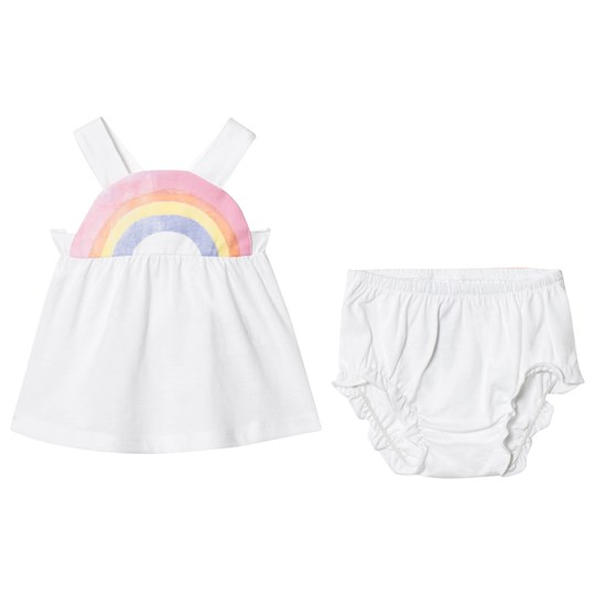 United Colors of Benetton Strapy Top And Pants Set With Rainbow Neck Detail White White