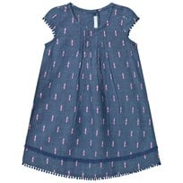 United Colors of Benetton Denim Look Dress with Embroidered Details Blue Blue