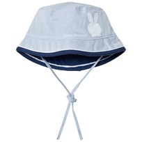 United Colors of Benetton Reversible Pale Blue Cotton Sun Hat with Tie Neck Blue Navy