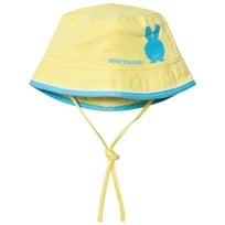 United Colors of Benetton Reversible Yellow Cotton Sun Hat with Tie Neck yellow multi