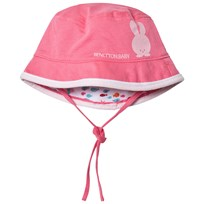 United Colors of Benetton Reversible Pink Cotton Sun Hat with Tie Neck Pink White