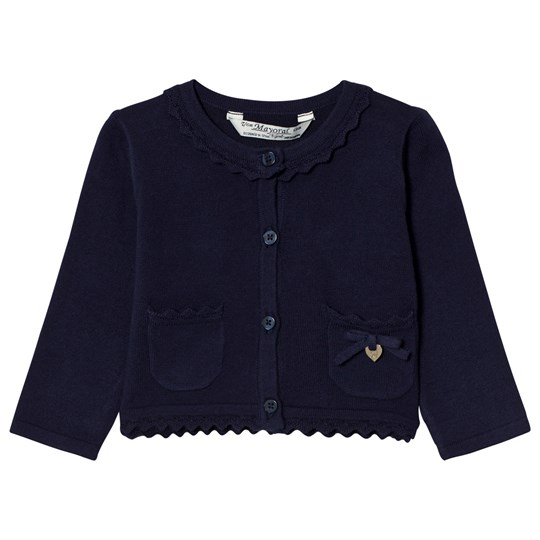 Mayoral Navy Knit Cardigan with Scalloped Collar 19