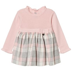 Mayoral Pink and Grey Plaid Knit Dress