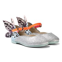 Sophia Webster Mini Leopard Chiara Embroidered Butterfly Skor Silver Silver & Leopard