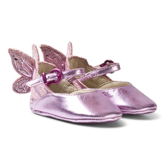 Sophia Webster Mini Chiara Embroidered Butterfly Crib Shoes Pink Rosa Metallic
