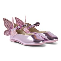 Sophia Webster Mini Chiara Embroidered Butterfly Skor Rosa Rosa Metallic