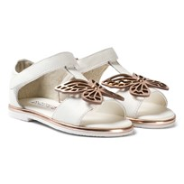 Sophia Webster Mini White Leather Flutterby Sandals White & Rose Gold