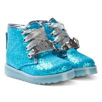 Sophia Webster Mini Blue Glitter Wiley Royaly Boot with Silver Crown Blue Glitter