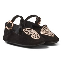 Sophia Webster Mini Black Bibi Butterfly Crib Shoes Black & Rose Gold