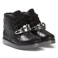 Sophia Webster Mini Black Glitter Wiley Royaly Boot with Silver Crown Black glitter