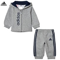 adidas Grey Infants Hoodie Sweatpants Set Top:MEDIUM GREY HEATHER/COLLEGIATE NAVY Bottom:MED