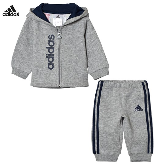 adidas Performance Infants Hoodie och Sweatpants Set Grå Top:MEDIUM GREY HEATHER/COLLEGIATE NAVY Bottom:MED