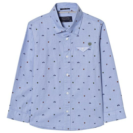 Mayoral Blue Printed Long Sleeve Shirt 87