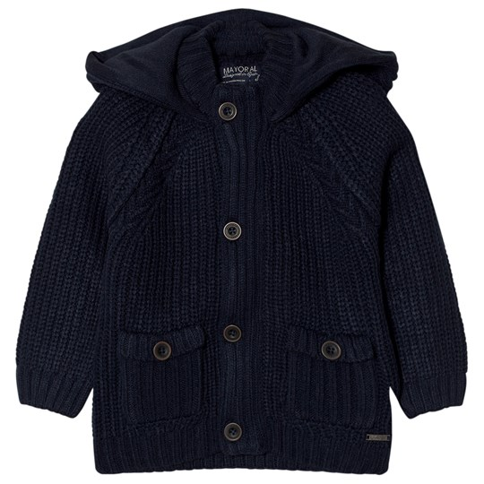 Mayoral Navy Knit Hooded Cardigan 92