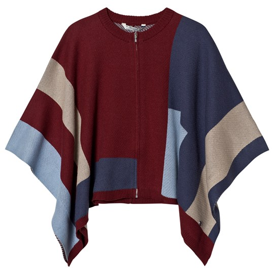 Mayoral Red and Blue Knit Poncho 4