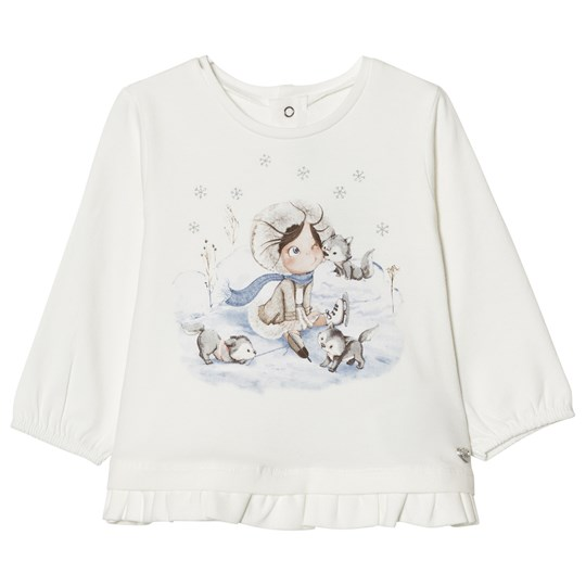 Mayoral Off White Winter Girl Print Frill Tee 20