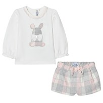 Mayoral White and Pink Plaid Bunny Tee and Shorts Set 27