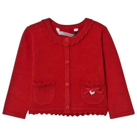 Mayoral Red Knit Cardigan with Scalloped Collar 16