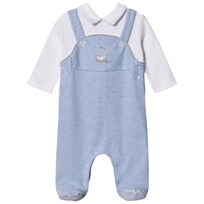 Mayoral Dungaree Effect Teddy Applique Sparkdräkt Blue Marl 38