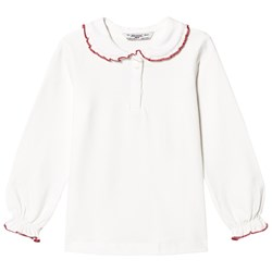 Mayoral White Peter Pan Collar Jersey Top with Red Trim