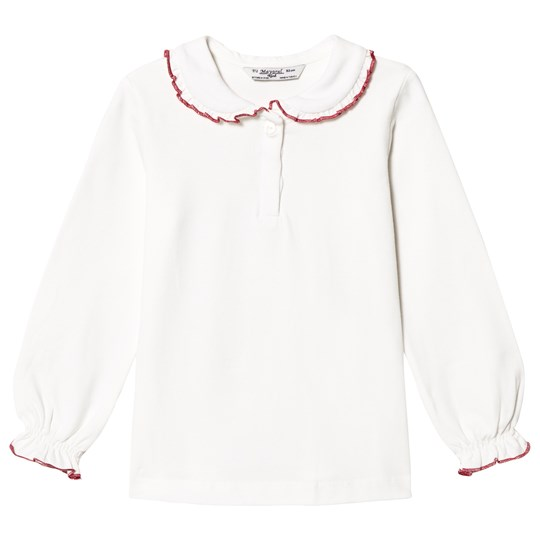 Mayoral White Peter Pan Collar Jersey Top with Red Trim 18