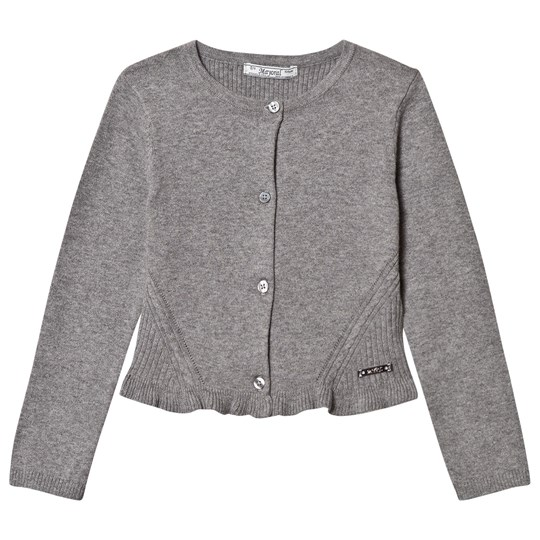 Mayoral Grey Knitted Cardigan with Frill Hem 87