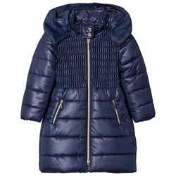 Mayoral Navy Long Line Hooded Puffer Coat