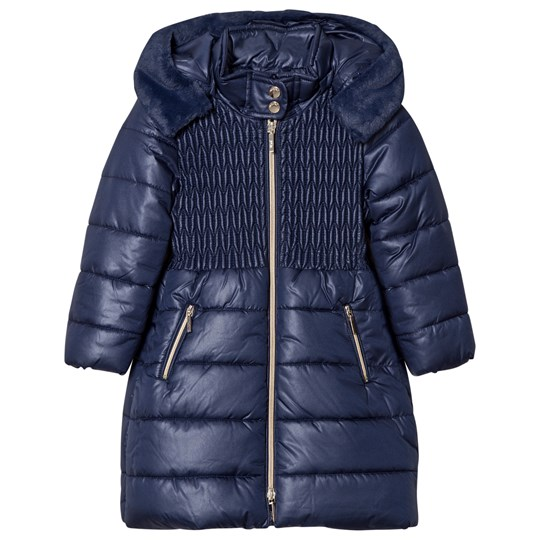 Mayoral Navy Long Line Hooded Puffer Coat 60