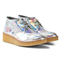 Stella McCartney Kids Wendy Holographic Glitter Stars Wedge Kängor Silver 8115