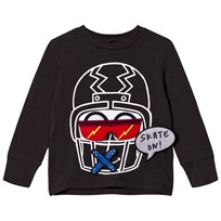 Stella McCartney Kids Funny Face Helmet Tröja Svart 1074 - Washed Black