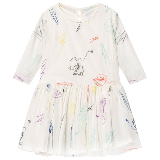 Stella McCartney Kids White Luna Embroidered Skates Tulle Dress 9232