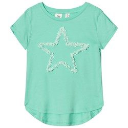 GAP Embellished Graphic Twist Sleeve Tee Aqua Light