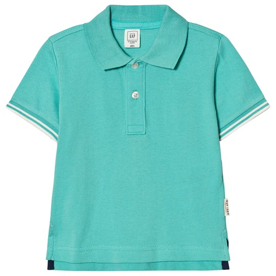 GAP Stripe-Sleeve Pique Polo Water Garden Green Water Garden Green
