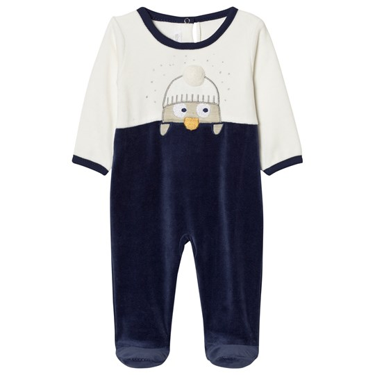 Absorba Navy and Cream Penguin Footed Baby Body 04