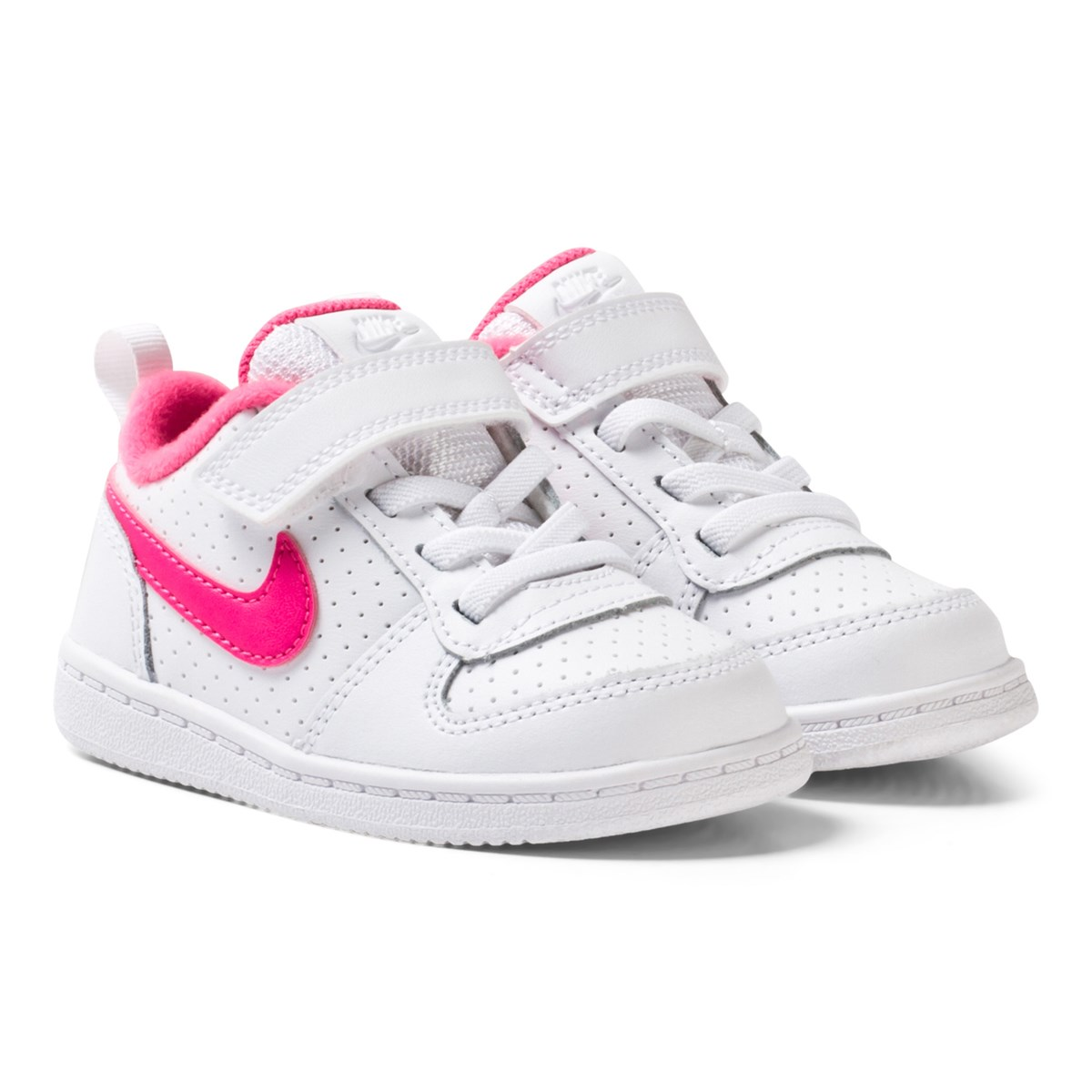 NIKE - White and Pink Court Borough Low Infants Sneakers ...