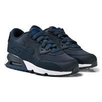 NIKE Boys Navy Nike Air Max 90 Mesh Kids Shoe ARMORY NAVY/ARMORY NAVY-BLUE JAY-WHITE